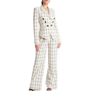 Women New Formal Padded Shoulder Coat Suit Tops Spring Double Breasted Plaid White Blazer