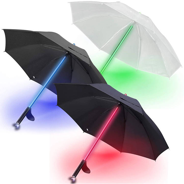 LED Laser Sword Light up Flashing Golf Umbrellas with 7 Color Changing Shaft