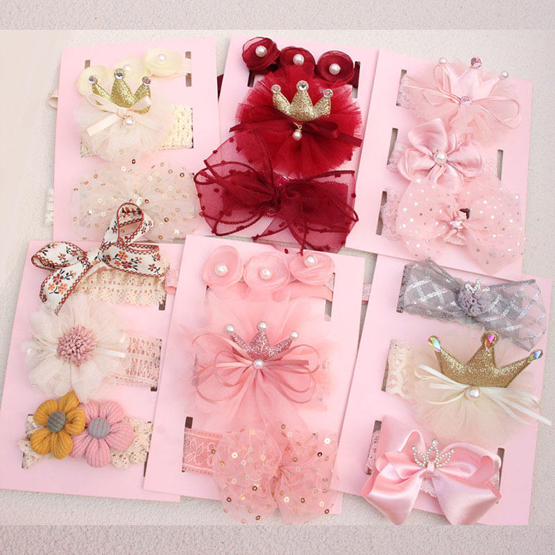 Korean Princess Nylon Hairbands for Baby Girls Crown Ribbon Bow Headband Elastic Band Newborn Kids Hair Accessories