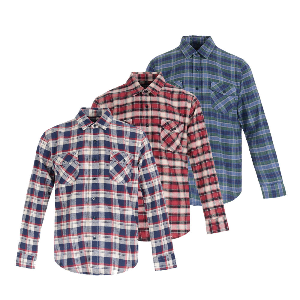 Factory direct Custom made soft wholesale men's 100% cotton flannel plaid shirt checks