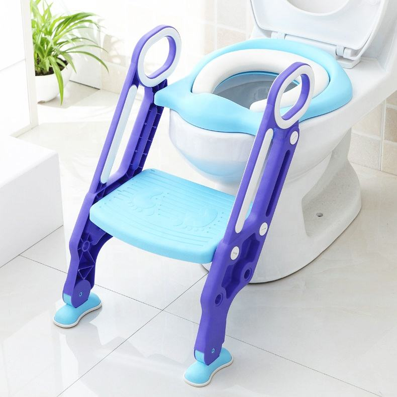 Non-Slip Wide Step Potty Training Padded Seat Toilet Seat Step Stool Ladder with Handles