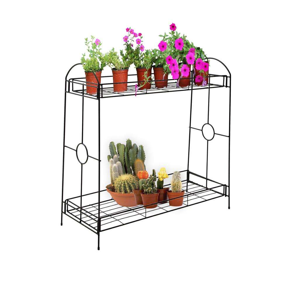 DRM 2-Tier Indoor/Outdoor Metal Plant Stand Flower Stand Rack Flower Pots Holder - Available in US/EU Local Warehouse