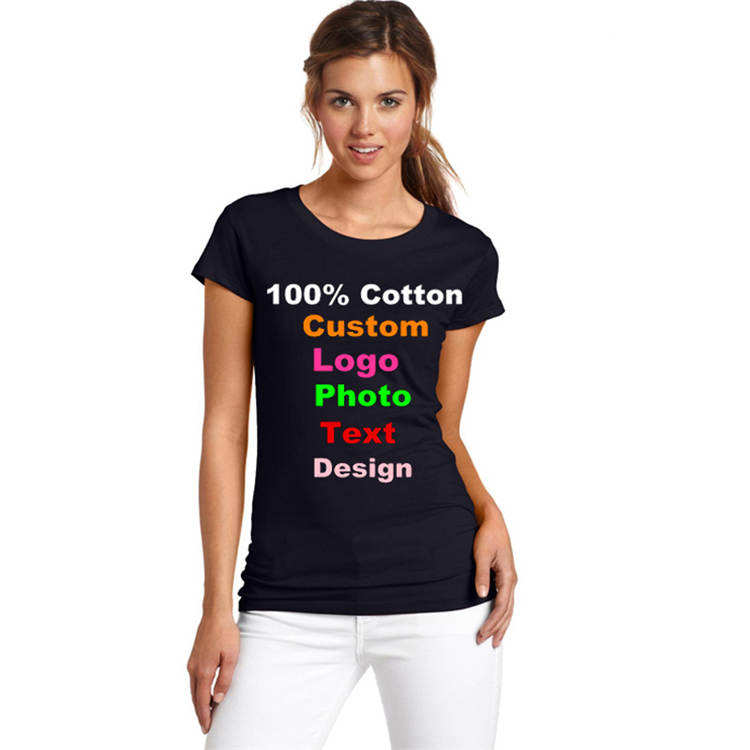 Wholesale 180gsm 100% cotton customized logo printed t shirt women t shirts