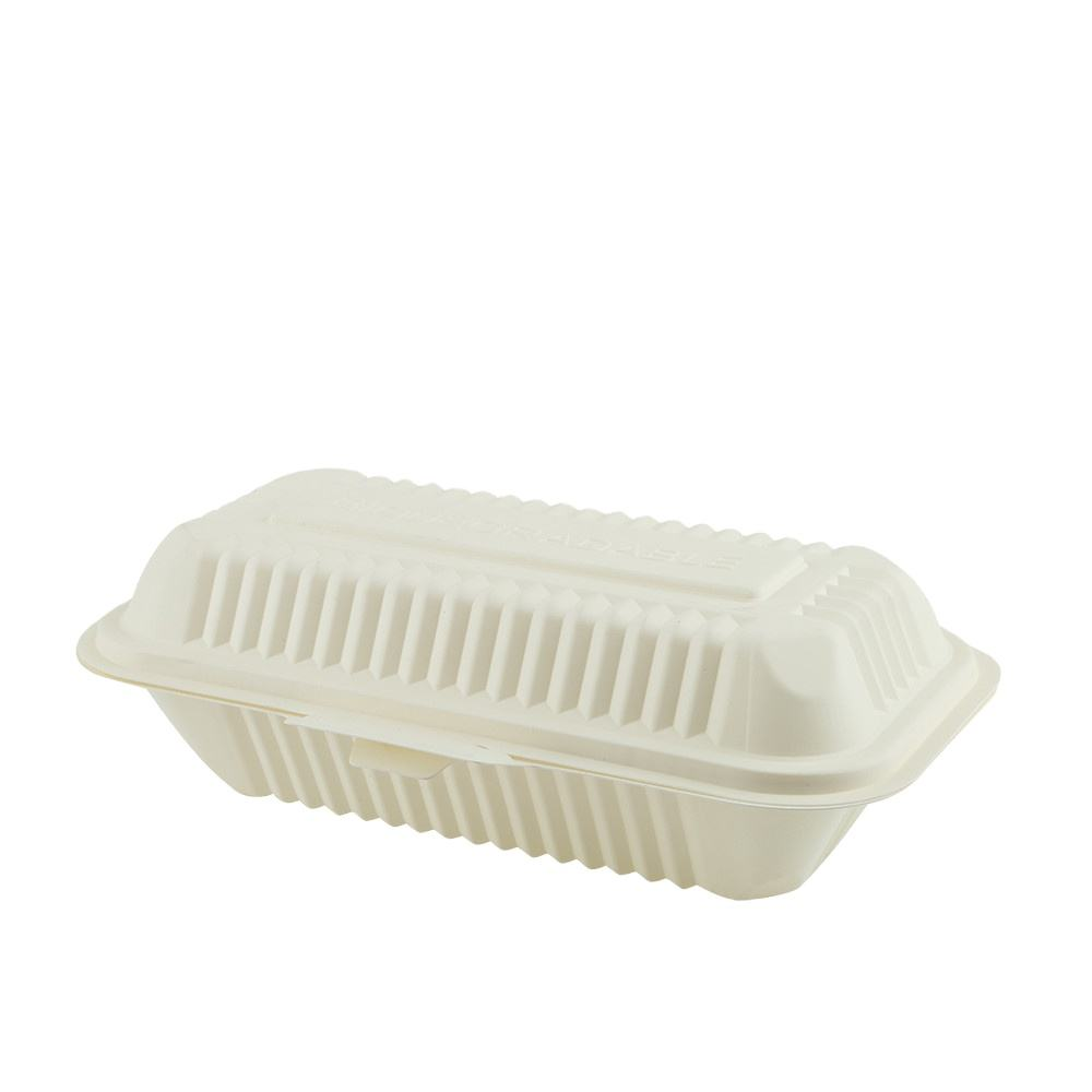 Customized Biodegradable Compostable Disposable Take Away Series Paper Material Corn Starch Material Hot Dog Box