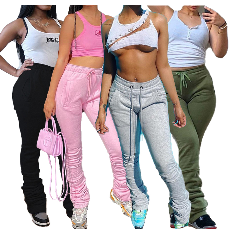 Hot Sale workout stacked leggings women fall clothing flare pants jogger thick women stacked pants