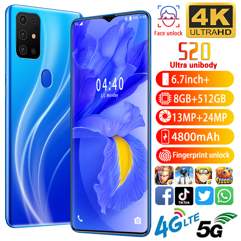 "Unlocked S20 MTK6799 10Core 6.7 ""Hd 1440*3040 5G 8Gb + 512Gb 13MP + 24MP Batterij 4800mah1 Android10.0 Smart <span class=keywords><strong>Telefoon</strong></span>"