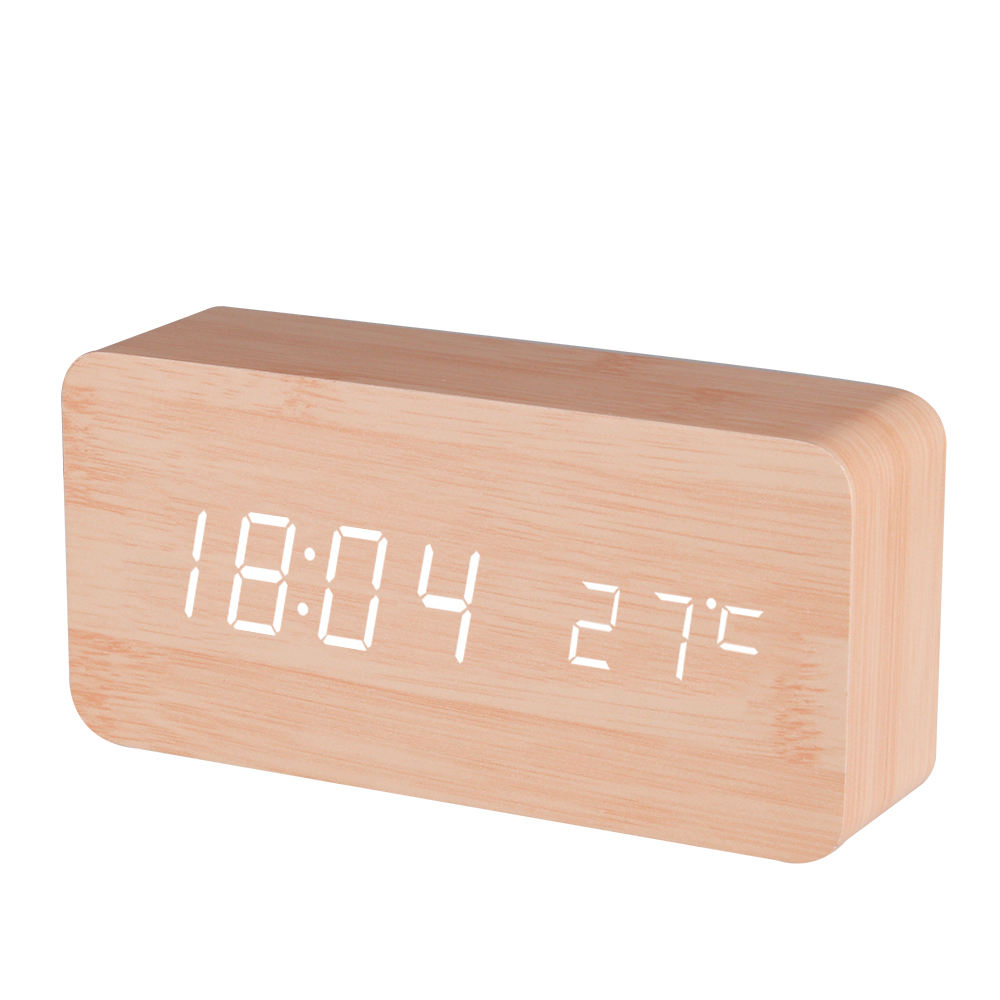 Fashion USB Bamboo Digital LED Alarm Clock Temperature Table Clock BAMBOO COLOR CASE WHITE LED