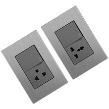 Electrical South American wall switch socket metal 1gang light switches for homes with 2USB ports