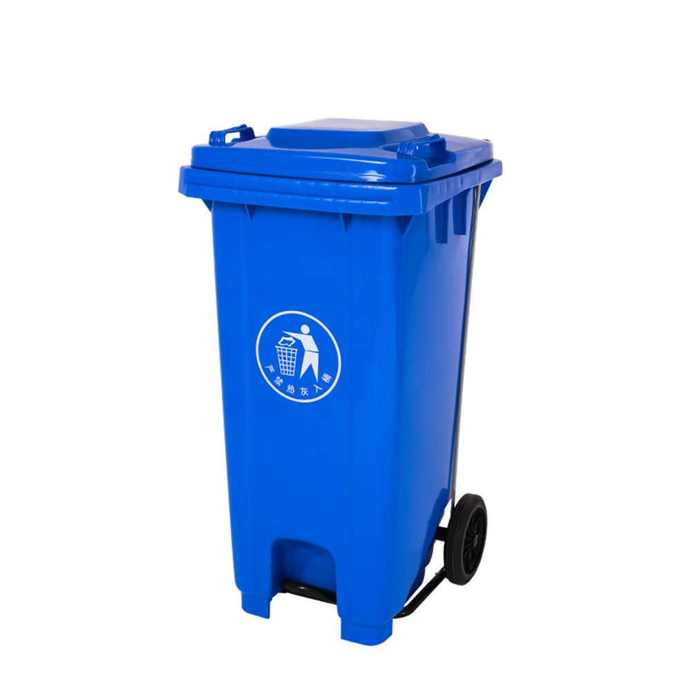 Commercial outdoor corner plastic pedal rubbish bin trash can