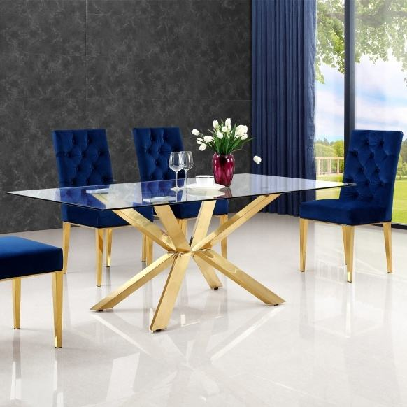 X Legs Luxury Lifestyle Visionnaire Interior Design Contemporary Gold Plated Luxury Stainless Steel Glass Dining Table