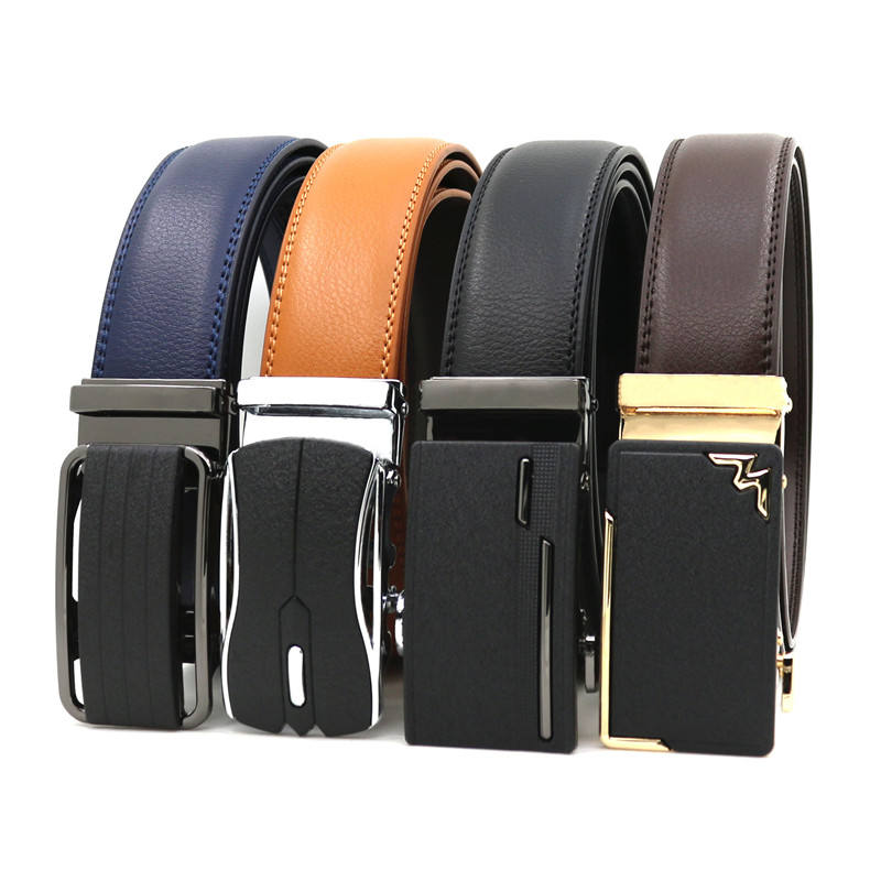 Brand custom Genuine Leather belt man's automatic belts for men cow hide can print logo ratchet belt factory