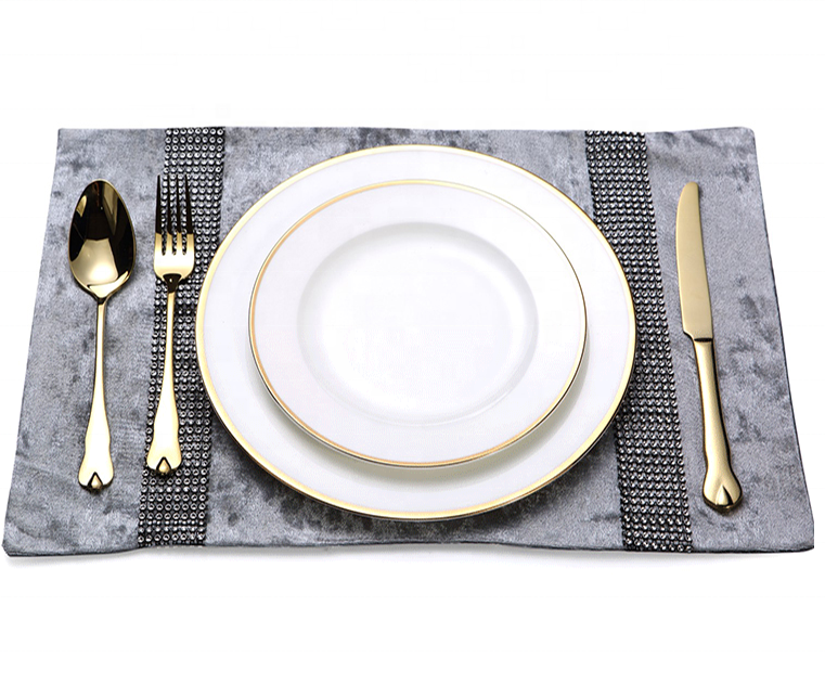 European gold-rimmed round bone china white Western tableware Ceramic Plate bowl coffee cup steak Crockery dinner sets