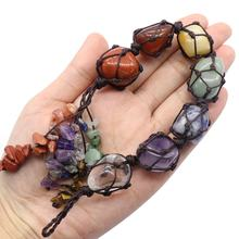 new Irregular healing crystals 7 colors polished stone home ornaments yoga chakra car decoration seven chakras pendant