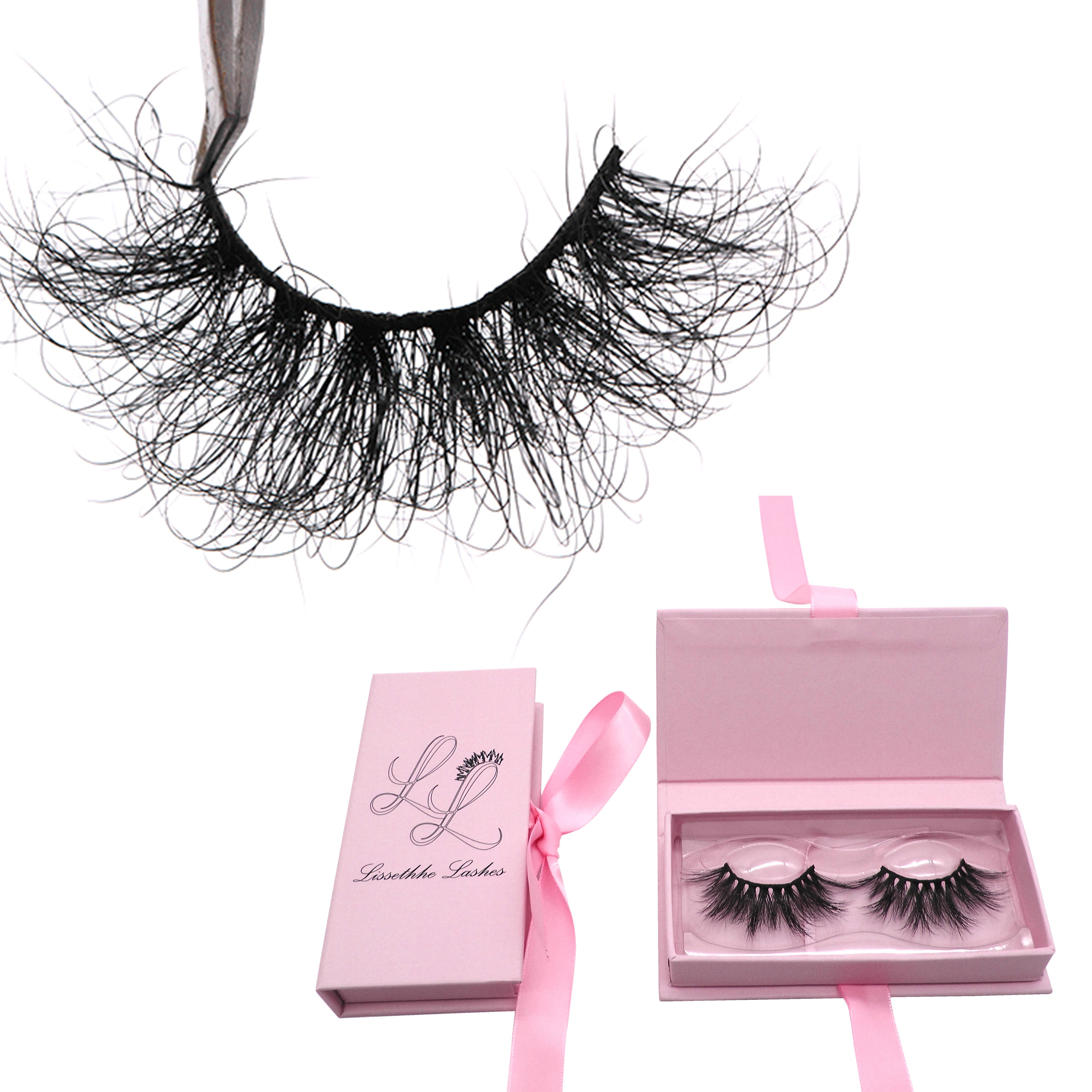 HZ6CF Hitomi Hand Made 3d Mink Strip Eyelashes 3d Mink Lashes Wholesale Real Fluffy Curl 25mm 3D Mink Eyelashes