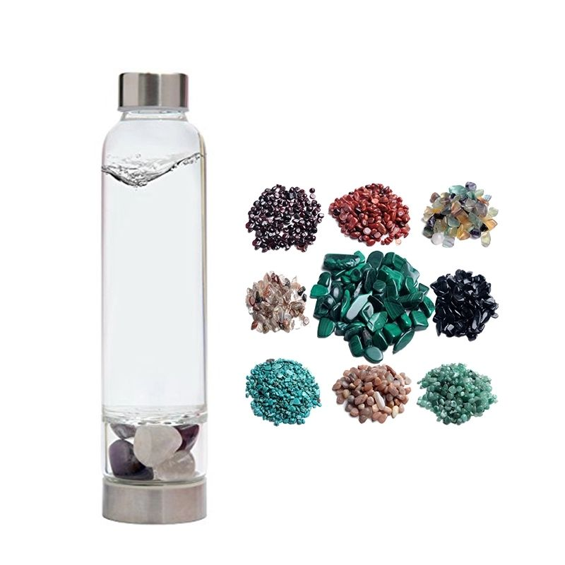 Rose Quartz Crystal Infused Water BottleとCrystals Healing Stones 550ミリリットル
