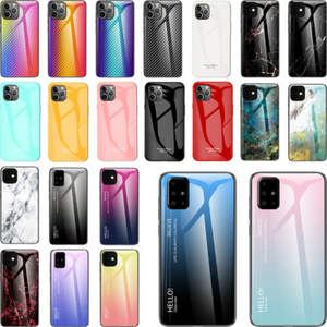 Marmer Peri Warna Tempered Glass Case Cover untuk Apple Iphone 6 7 8 Plus X XR 11 Pro Max