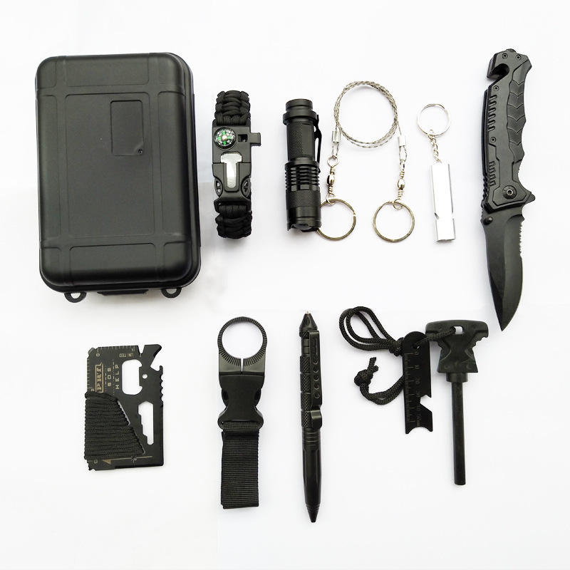 Outdoor Camping Emergency Disaster Survival Kit Black Portable Multifunction Portable Survival Kit