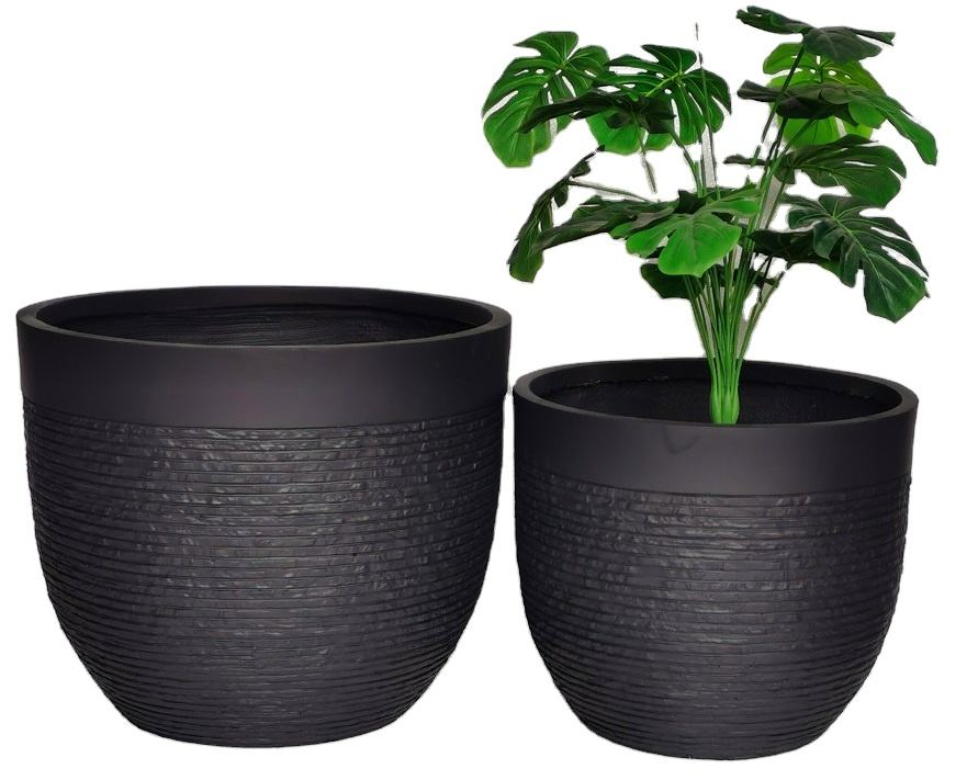 2020 Popular Fiber Clay Planter Pot Set flower pots in bulk with stone pattern