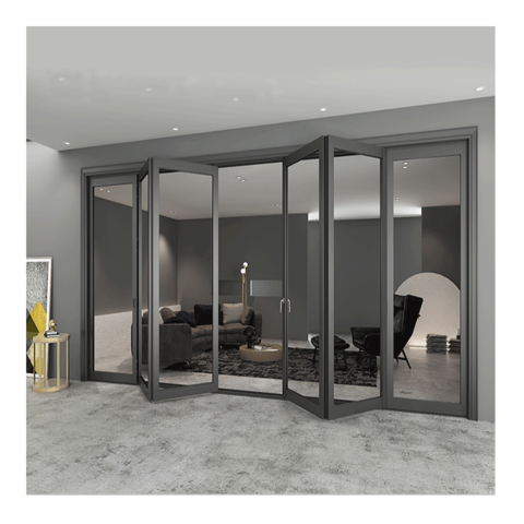 Aluminum glass interior bifolding door deck glass door