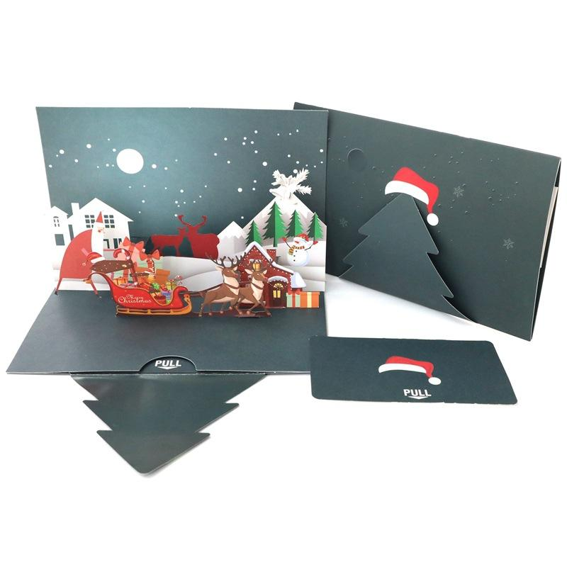 3D DIY reindeer father christmas pop up greeting card postcard for christmas thanksgiving day greeting