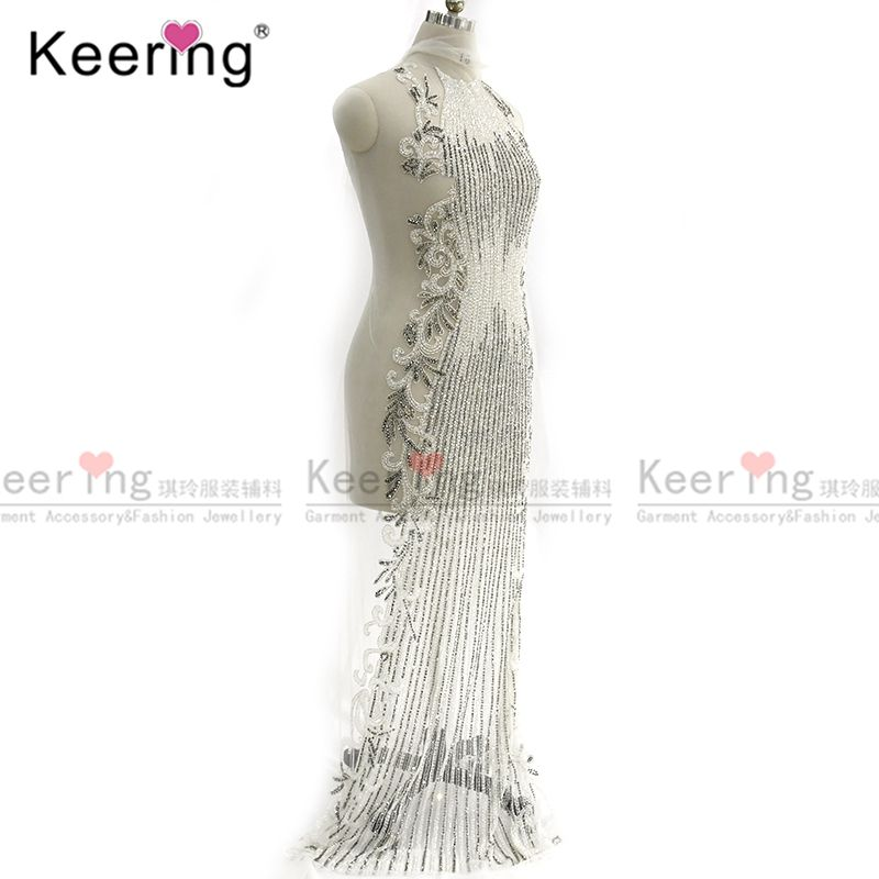 Keering New Design Sexy WDP-183 Flora Flower Wedding Long dress Party BridalBeaded Patch Applique