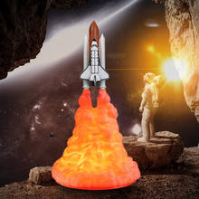 3D Print Rocket Lamp, 3D Illusion Lamp Space Shuttle Nightlight Table Lamp for Rocket Lovers Rechargeable