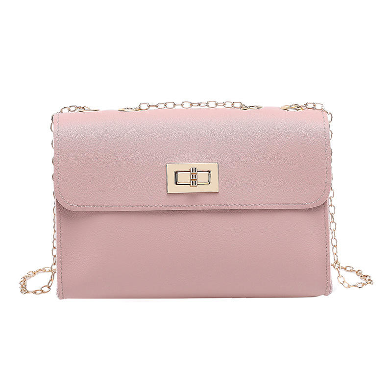 2020 new fashion pu square crossbody phone soft surface lock strap women sling pink chain bag