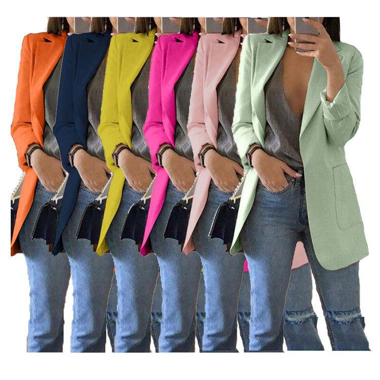 1119M506 hot sale solid colors turn-down collar elegant slim latest design 2020 women fashion clothing Blazer plus size jackets