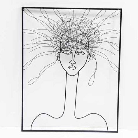 FUHUA Modern Metal wire Wall Decoration Abstract Wire Face Wall Art for Living Room