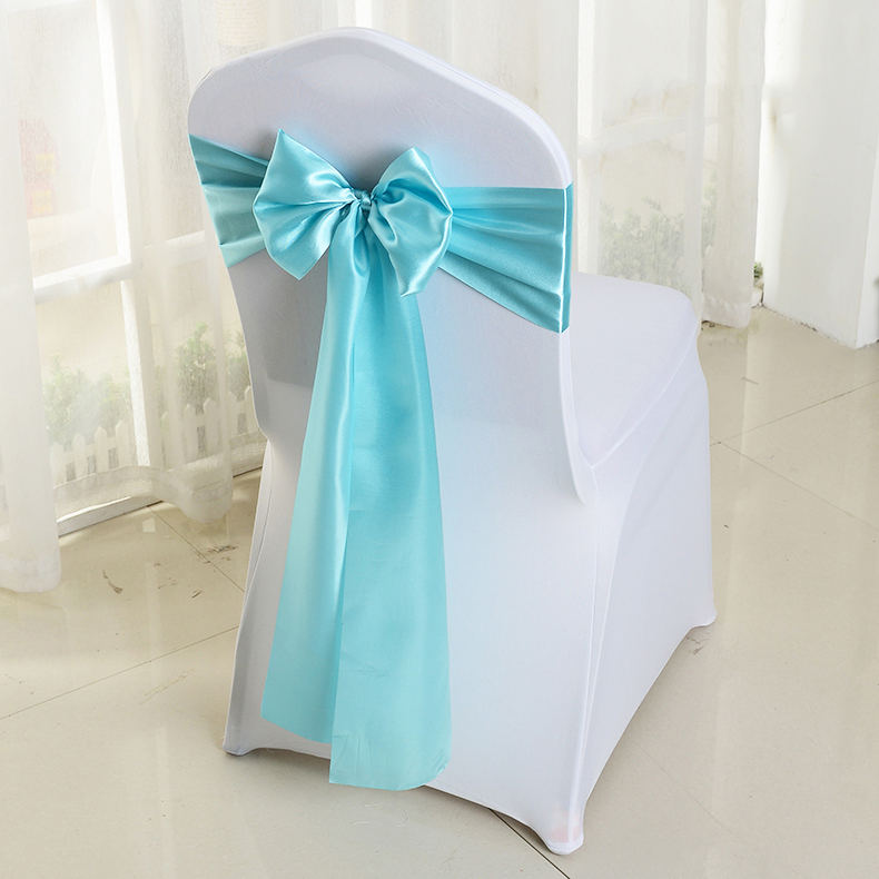 Wholesale spandex polyester chair sashes for wedding party blue wedding chair sashes