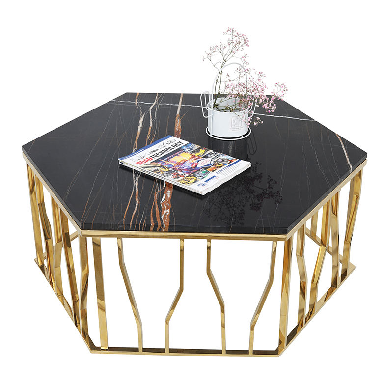 Modern white and black marble top gold coffee table