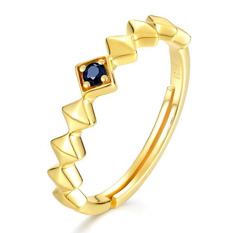 Регулируемый позолоченный кольцо синий сапфир ромб группа eternity кольцо