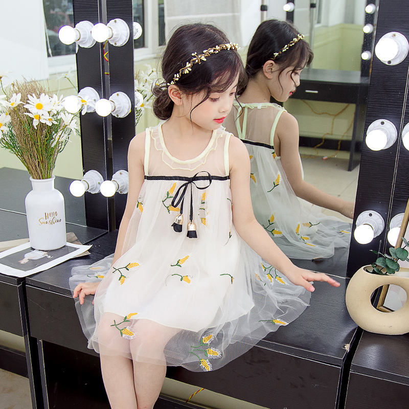 2-8years Little girls boutique floral one piece dress baby toddler princess wear embroidery corn sleeveless frock dresses suit