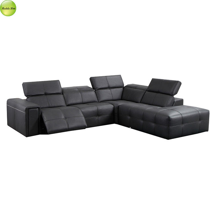 New Design Roma Black 3 Seats Recliner Sofa Made In China L Shape Leather Sofa Set Living Room Furniture