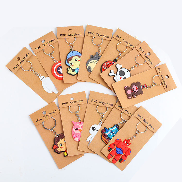 Cartoon Keychain PVC Rubber Key chain Custom Wholesale Promotional Gift Cute Soft PVC Key Chain 3D Pvc Soft Rubber Keychain