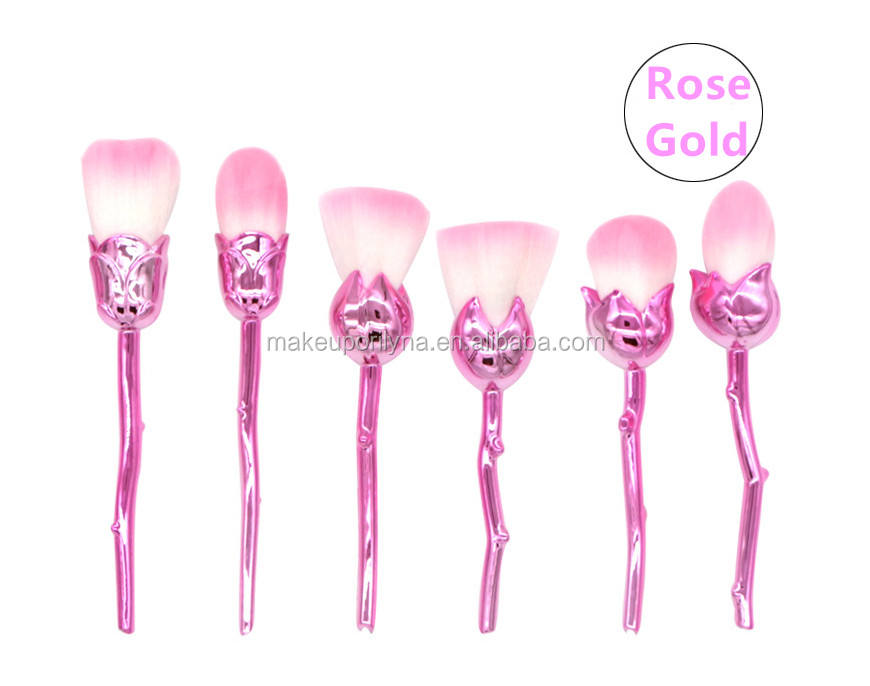 HOT unique 6 pieces colorful flower makeup brush with powder brush