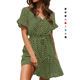 Womens Polka Dot Button Down Dress Boho Short Sleeve Ruffle Mini Dresses with Belt