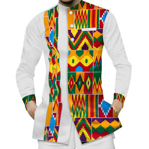 Casual 100% Cotton men%27s+shirts African clothes Dashiki Kente Patchwork Print Shirt Tops Bazin Riche African Suit Clothing