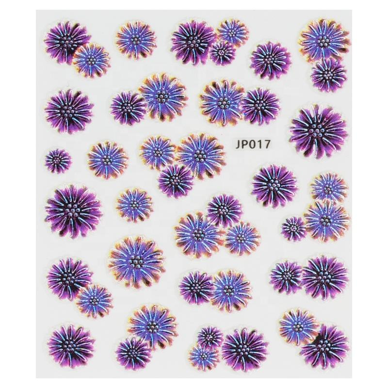 2020 nova 5D Blooming Flower <span class=keywords><strong>Acrílico</strong></span> Gravado Em Relevo Etiqueta Do Prego Decalques Nail Art stickers