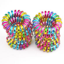 rainbow shining laser colors fabric cloth  line  elastic ponytail holder wire hair band