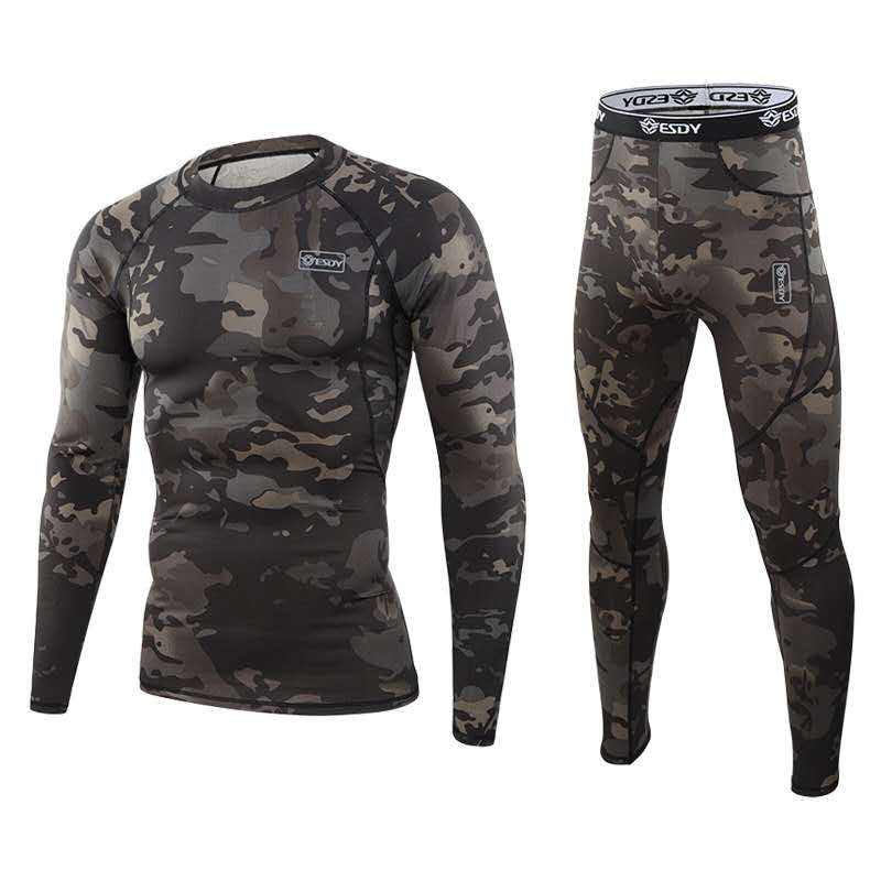 ESDY New Design Outdoor Camouflage Thermal Underwear Sets Tactical Function Training Underwear