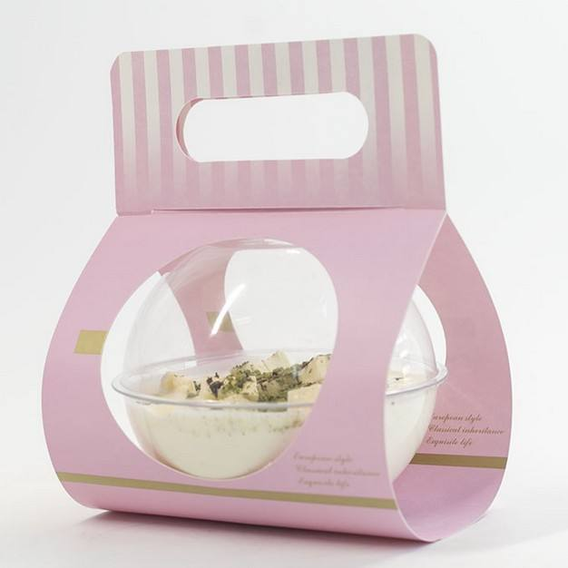 Ball packaging poke bowl with paper card carry for poke, salad, cake, dessert