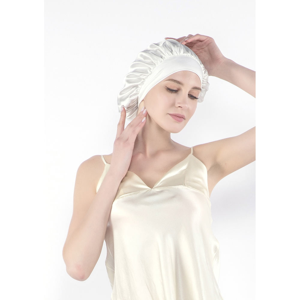 Amazon Best Selling Fashion Bonnet 100% Mulberry Silk Hair Care Cap For Sleeping
