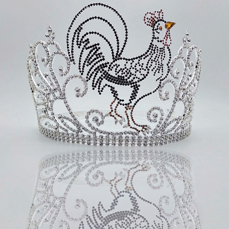 wholesale Innovative product big tiara crowns women girls pageant crown and tiara with rhinestones,Chicken pattern