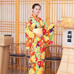 myKimono Women's Traditional Japanese Kimono Robe Yukata with OBI Belt (Pink with Flower Pattern)