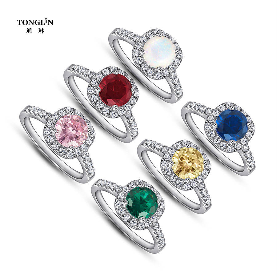 rings Jewellery 004 18k Gold Filled Plated Diamond Gemstone Custom Engagement Wedding rings set 925 Sterling Silver Jewelry