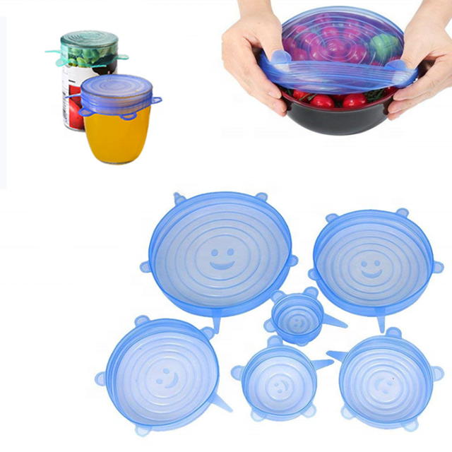 Silicone Stretch Lids Factory Wholesale Custom 6-piece Round Keep Food Fresh Silicone Stretch Lids