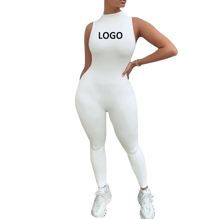 OEM Women Bodysuit sportswear Custom logo clothing Vendors Knit Blank Fitted Sleeveless Jumpsuit one piece Jumpsuits women's