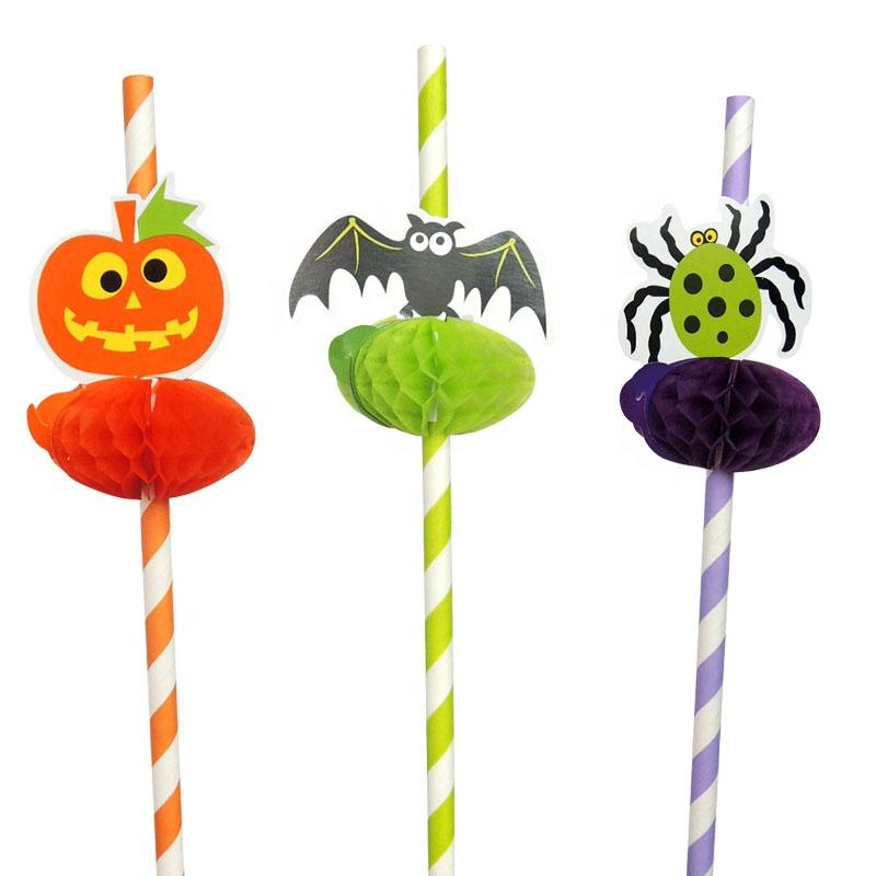 2020 Wholesale New products pumpkin Honeycomb Striped Paper Straws Environmentally Halloween party decoration