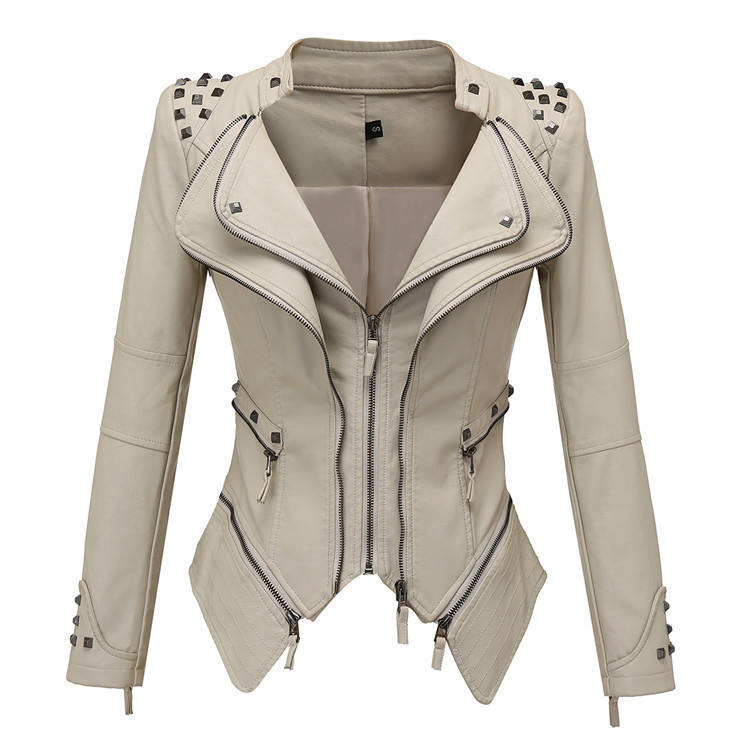 Fashion Women washed pu jacket rivet short double zipper leather jacket